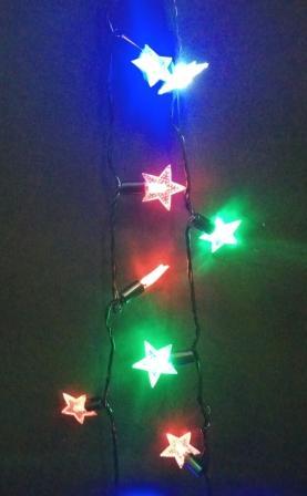 Гирлянда Звёзды, уличная 4м, черный провод, color