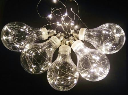"""Гирлянда """"Лампочки L"""", 5 ламп, LED, бел/желт"""