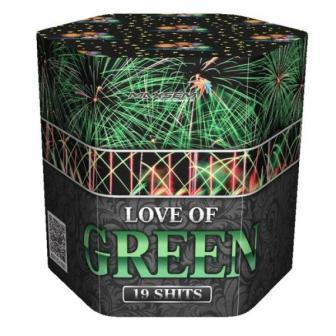 "Батарея салютов ""LOVE OF GREEN""  19 залпов * 1.2""  1/8"