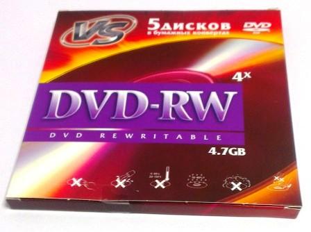Диск VS DVD-RW 4,7 GB 4x бумажный конверт/5