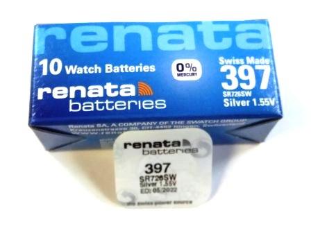 Элемент питания Renata 397 (SR726SW)0%Hg BL-1/10
