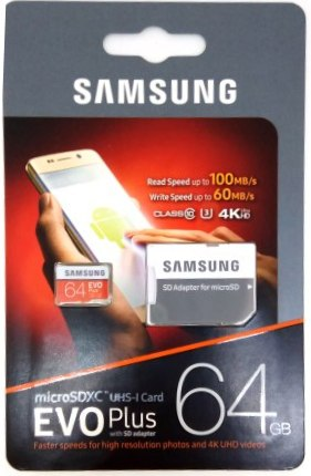 micro SD карта памяти 64GB Samsung Class 10 Evo Plus U1 U3 (R/W 100/60 Mb/s)+SD aдаптер