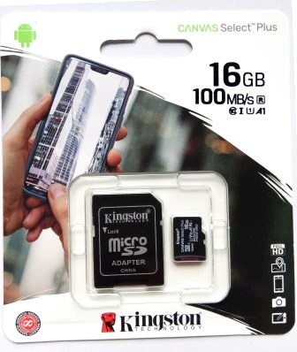 Карта памяти MicroSD  16GB  Kingston Class 10 Canvas Select Plus A1 (100 Mb/s) + SD адаптер