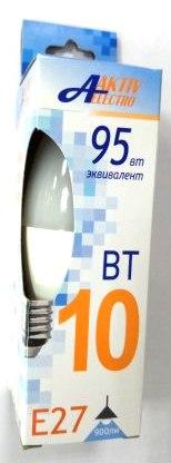 Лампа светодиодная Aktiv-Elektro LED-C37-Regular свеча 10Вт 175-265В Е27 4000К 850Лм /100