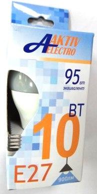 Лампа светодиодная Aktiv-Elektro LED-G45-Regular шар 10Вт 175-265В Е27 4000К 850Лм /100