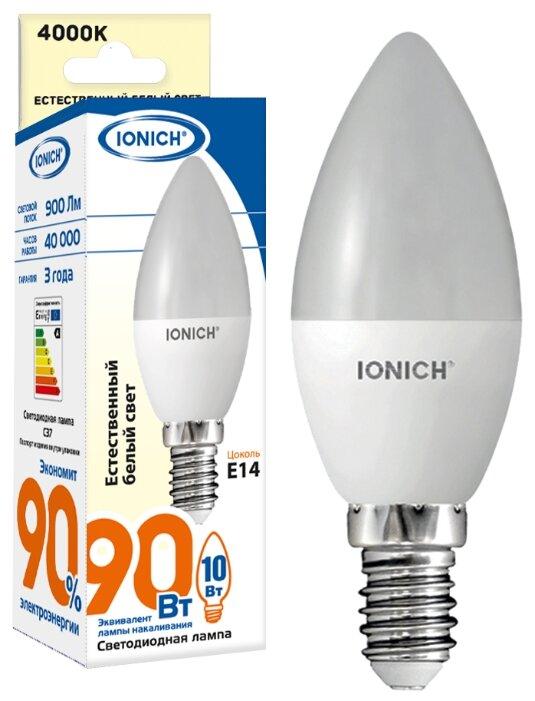 """Лампа светодиодная IONICH """"свеча"""" C37 10Вт 4000К E14"""