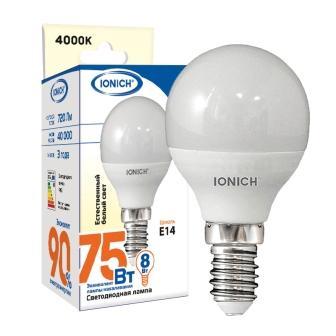 """Лампа светодиодная IONICH """"шар"""" P45 8Вт 4000К E14"""