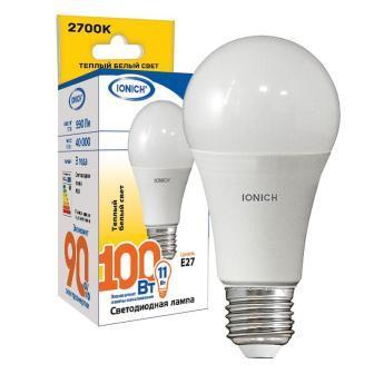Лампа светодиодная IONICH A60 11Вт 2700К E27