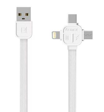 Кабель ReMax Lesu iPhone5/microUsb/TypeC, 1м