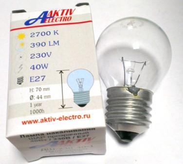 Лампа накаливания ДШ-230-40 40Вт Е-27 Aktiv-Electro шарик