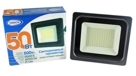 Прожектор светодиодный ТМ IONICH 50Вт 865-BL-IP65 (YK1809)