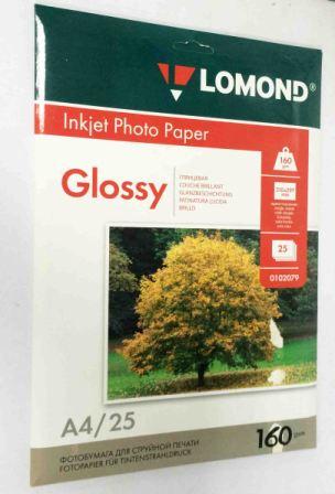Lomond Глянцевая бумага 1xА4, 160г/м2, 25 листов