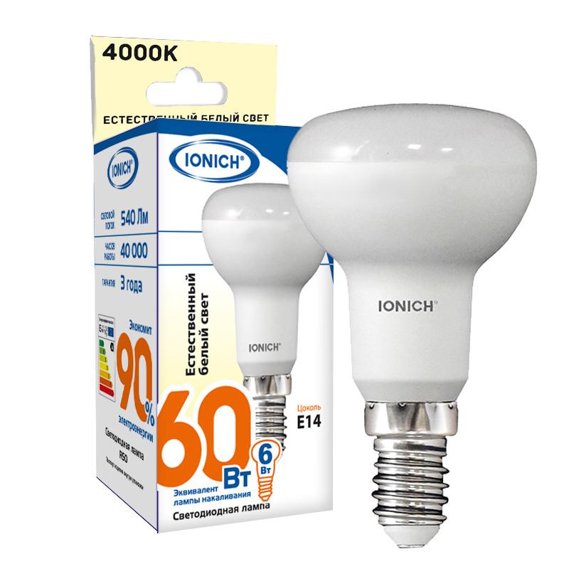 Лампа светодиодная IONICH  R50 6Вт 4000К E14