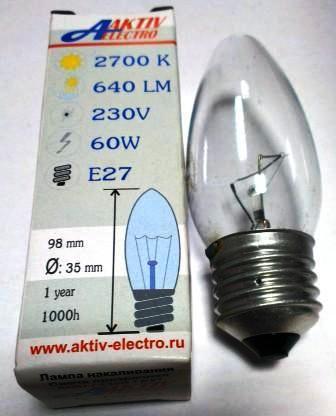 Лампа накаливания ДС-230-60 60Вт Е-27 Aktiv-Electro свеча