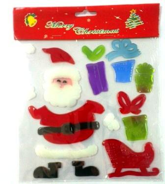 """Стикер гелевый """"Дед Мороз"""" на стекло в ассортименте, толстый"""