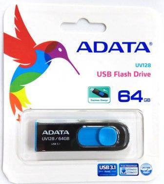 Флеш накопитель 64GB A-DATA UV128, USB 3.0 Bl/Blue