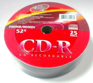 Диск VS CD-R 80 52x Shrink/25
