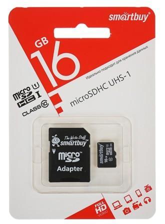 micro SDHC карта памяти Smart Buy  16GB Сlass 10 с