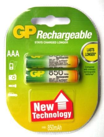 Аккумуляторные GP NIMH 850 R03 к-т2