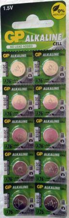 Элемент питания GP  A76 (AG13/LR44) к-т 10шт 1/25