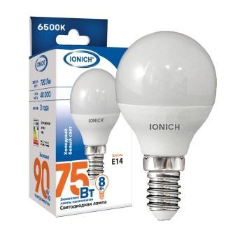 """Лампа светодиодная IONICH """"шар"""" P45 8Вт 6500К Е14"""