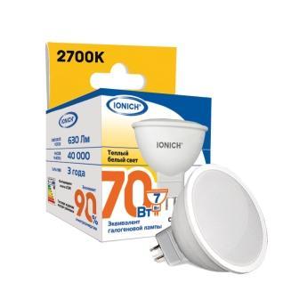 Лампа светодиодная IONICH JCDR 7Вт 2700К GU5.3