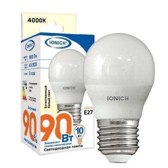 """Лампа светодиодная IONICH """"шар"""" G45 10Вт 4000К E27"""