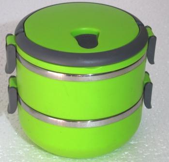 Двойная термомиска круглая SB-10 зелен.  4-9-10