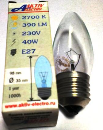 Лампа накаливания ДС-230-40 40Вт Е-27 Aktiv-Electro свеча