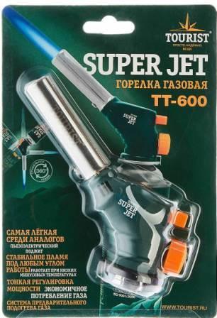 """Горелка газовая SUPER JET (TT-600) с пьезоподжигом и системой подогрева газа, """"Tourist"""", 1/5"""