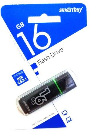 Флеш-накопитель USB  16GB  Smart Buy  Glossy  чёрный