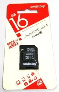 micro SDHC карта памяти Smart Buy  16GB COMPACT Сlass 10 с адаптером