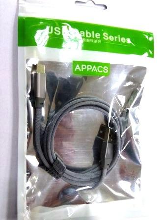 Кабель APPACS AP03209a, TYPE-C, 5V/2.4A, 1 метр, LED