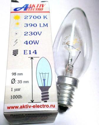 Лампа накаливания ДС-230-40 40Вт Е-14 Aktiv-Electro свеча