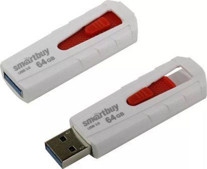 Флеш-накопитель USB 3.0  64GB  Smart Buy  Iron  белый/красный