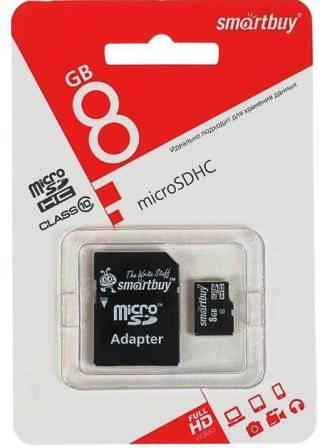 micro SDHC карта памяти Smart Buy  8GB Сlass 10 + адаптер