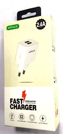 Зарядное устройство 220V APPACS APEU02-2, 2USB. 2.4A
