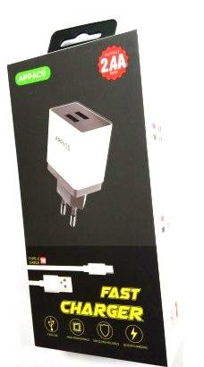 Зарядное устройство 220V APPACS APEUT52a, кабель TYPE-C, 2USB, 2.4A