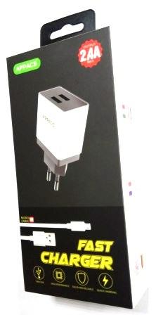 Зарядное устройство 220V APPACS APEUT52m, кабель microUSB, 2USB, 2.4A