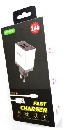 Зарядное устройство 220V APPACS APEUT52i, кабель lightning (iPhone), 2USB, 2.4A