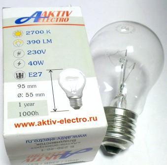 Лампа накаливания Б-230-40-1 40Вт Е-27 Aktiv-Electro груша