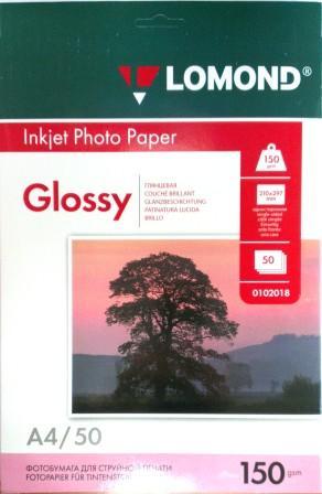 Lomond Глянцевая бумага 1xА4, 150г/м2, 50 листов