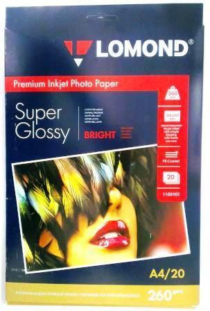 Lomond Суперглянцевая бумага 1х260г/м2,А4,20л