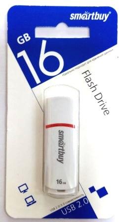 Флеш-накопитель USB  16GB  Smart Buy  Crown белый COMPACT