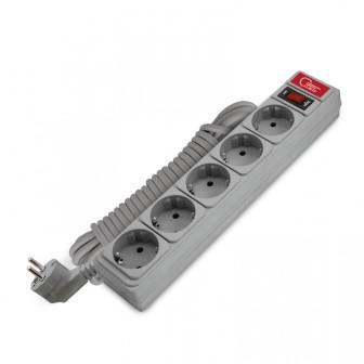 """Сетевой фильтр """"СОЮЗ"""" ПВС 3*0,75 5гн., выключатель с индикацией, с/з, серый 3м"""