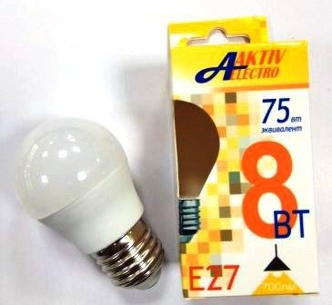 """Лампа AktivElektro LED G45 """"шар"""" 8Вт Е27 3000К /100"""
