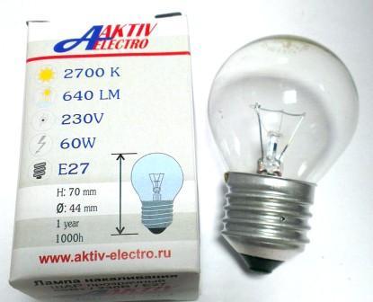 Лампа накаливания ДШ-230-60 60Вт Е-27 Aktiv-Electro шарик