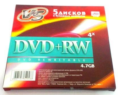 Диск VS DVD+RW 4,7 GB 4x бумажный конверт/5